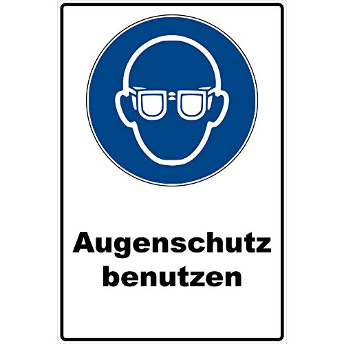 Schild Augenschutz benutzen Schild Schutzbrille Gebotszeichen blau 30 x 20 x 0,3 cm Hartschaumplatte Augen schützen Schild