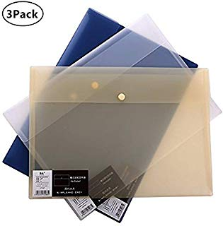 Skydue Clear Poly Filing Envelope Transparent Thick PP Waterproof File Holder Document Organizer with Snap Button Closure, 9.6 13.4 inches, 3 Assorted Colors(3/Pack)