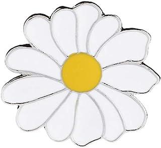 FENICAL Cartoon White Daisy Broche Estilo de Verano Esmalte Lapel Pin Patrón de Planta Insignias Redondas para Camisas de ...