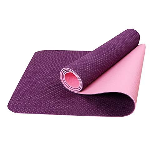 BAWAQAF Esterilla de yoga,Almohadilla de ejercicio de yoga de 6 mm,Estera de gimnasio plegable antideslizante gruesa,Alfombra de gimnasio de entrenamiento interior al aire libre