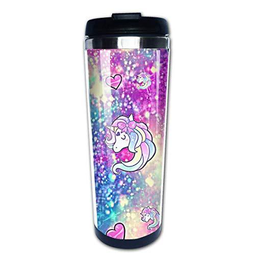 Taza de café de viaje Unicornio Color Corazón Taza de café con aislamiento de acero inoxidable Botella de agua deportiva 13.5 Oz (400 ml) MUG-700