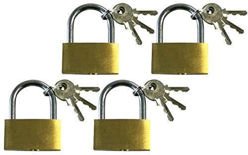 com-four® 4X Vorhängeschloss aus Messing - Sicherheitsschloss mit 3 Schlüssel - Vorhangschloss für Haushalt und Arbeit