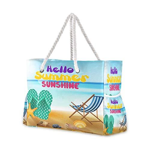 Bolsas de playa grandes Totes de lona, bolsa de hombro para vacaciones en la playa, verano con chanclas de mar, conchas de mar, resistentes al agua, para gimnasio, viajes diarios