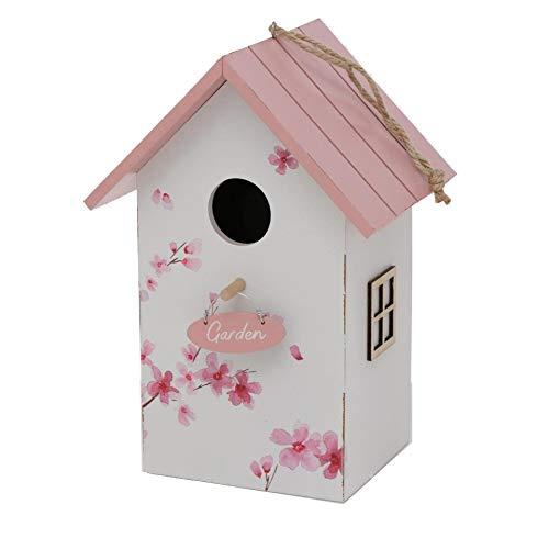 CasaJame Holz Vogelhaus für Balkon und Garten, Nistkasten, Haus für Vögel, Vogelhäuschen, weiß mit Kirschblüten Bemalung 15x12x22cm