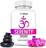 Serenity - Anti Anxiety & Stress Relief Supplement  Natural Plant Based Herbal Blend for Anxiety Relief, Fatigue Support, Mental Focus, Positive Mood w/Serotonin | Non Drowsy Formula for Memory 60ct