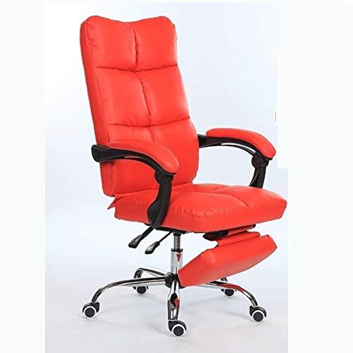 Silla de escritorio de oficina tapizada para juegos, silla ergonómica de piel sintética con respaldo alto y reclinable ajustable (color rosa