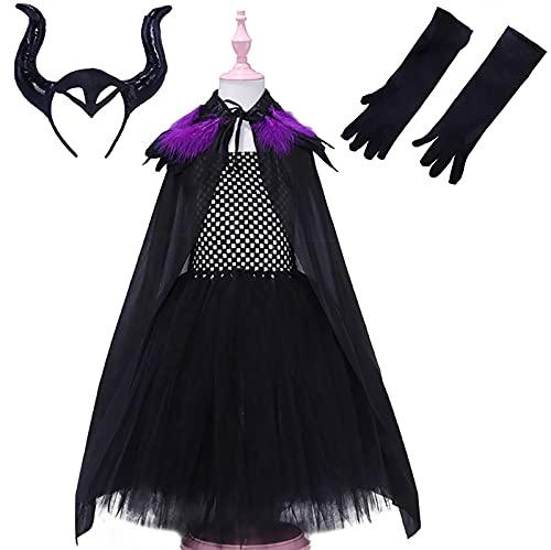 xzyq Ropa Infantil Europea y Americana, Vestido de Princesa Esponjoso de Bruja Cosplay, Vestido de Malla, Disfraz de Halloween para niños