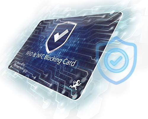 RFID Blocker Karte (alte Verpackung, neueste NFC Technologie) - Elektron. Störsender: 1 Karte reicht - Schutzkarte für Portemonnaie, Geldbörse, EC Karte, Bankkarte, Kreditkarte, Ausweis - 2 STK