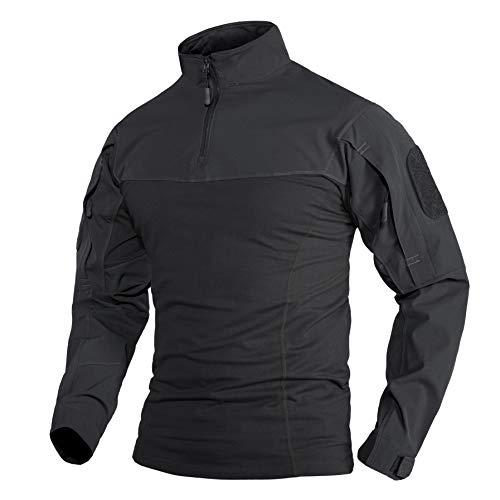 Military Shirt Herren Militär Taktisches T Shirt Baumwoll Tactical Hemd Outdoor Taktisch T-Shirt lässiges Sport Freizeit Shirts Schwarz