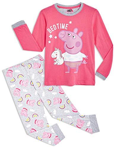 Peppa Pig Pijama para Niñas, Pijama Unicornio Niña de Manga Larga con Algodón Suave, Ropa Bebe Niña de Invierno Regalo Pepa Pig para Niños, Set de 2 Piezas Rosa (3 4 años)