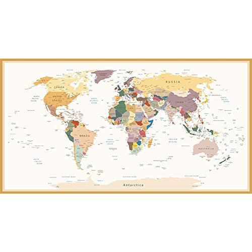 NLLeZ 1pc 100 * 200 cm Mapa del Mundo Cartel HD Print Decorative Picture Pintura de la Pared Arte de la Pared Imprimir Moderno Oficina Decoración para el hogar Sin Marco