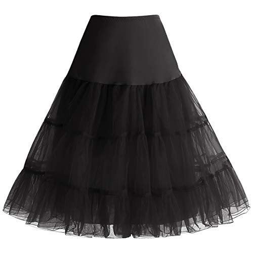 Bbonlinedress Donna 50s Sottogonna Organza Vintage Rockabilly Mini Gonne Black S