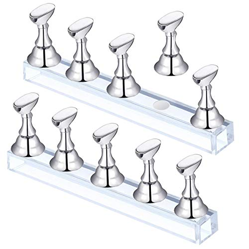 2 Set Silver Acrylic Nail Art Display Stand Magnetic Nail Tips Practice Holder Stand DIY Display Stands for False Nail Tip Manicure Tool Home Salon (Silver)