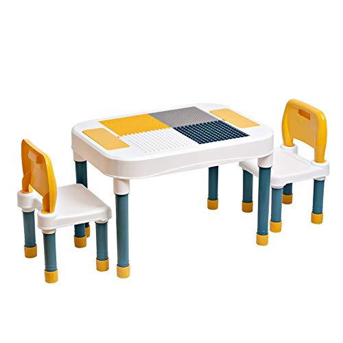 Juego de mesa de actividades para niños multifunción con 2 sillas, mesa de doble cara para construcción, aprendizaje, arena, juegos de agua, regalo para niños, mesa de bloques de construcción