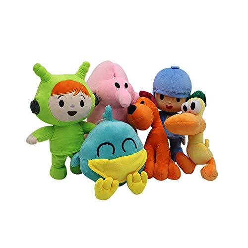 Queshi Pocoyo Set de Juguetes de Peluche Muñeca de Peluche de Dibujos Animados Elly Pato Loula Nina Sleepy Bird Anime Figura Muñeca Colección Regalo para niños