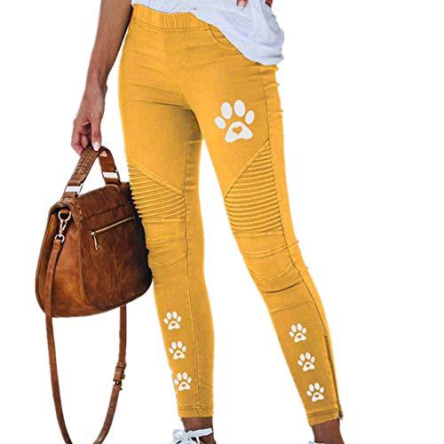 Hhckhxww Pantalones LáPiz Impresos Primavera Moda para Mujer Pantalones EláSticos Ajustados Ocasionales