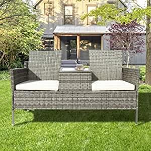 ModernLuxe Polyrattan Gartenbank Gartensofa Garten Möbel Mit Tisch 2 Sitzer Loveseat inkl. 5cm Auflagen, Grau