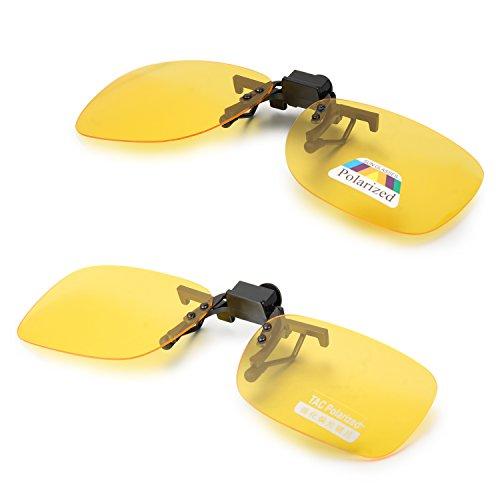Gafas de sol polarizadas de Aroncent para colocar sobre las gafas normales, UV400, 2 tamaños, color marrón, amarillo o verde Gelb Sonnenbrille-Clip 2PCS