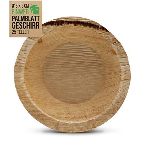 int!rend 25 ciotole usa e getta in foglia di palma I ø15 x 3 cm I sostenibile, compostabile, biodegradabile | 200 ml ciotola biologica in foglia di palma per feste, barbecue, stoviglie eco-compatibili