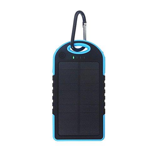 Zantec batteria esterna Power Bank con luce a LED universale Solar Power Bank 5000mAh ad alta capacità caricatore solare Dual USB portatile Blue