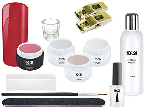 Starter Set Acryl - Pulver & Farbpulver Rot + Zubehör - Weiß + Rose + Klar + Rot