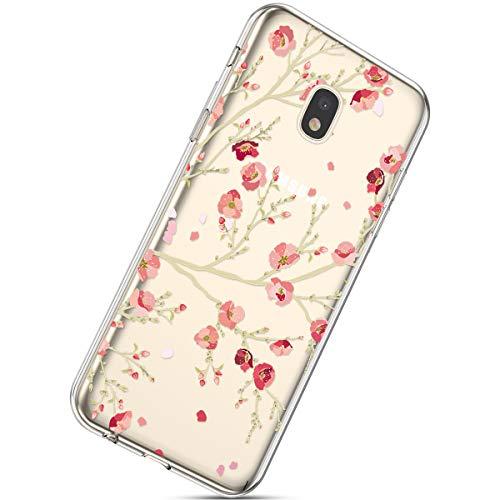 Herbests Handyhülle Kompatibel mit Samsung Galaxy J3 2017 Schutzhülle Silikon hülle Transparent Ultradünn Clear Cover Handytasche Weich Durchsichtig Klar Schutzhülle Case Cover Tasche,Sakura