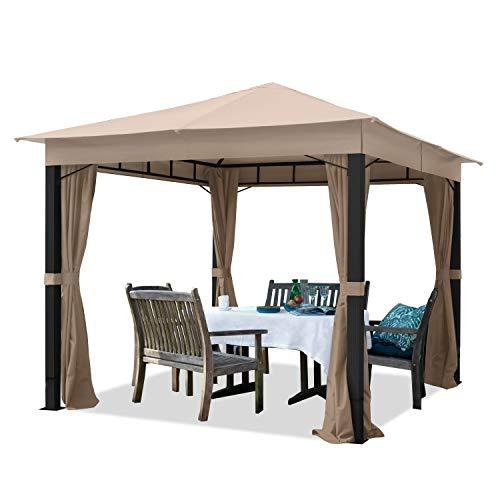 TOOLPORT Cenador de jardín 3x3m ALU Premium Aprox. 220g/m² Lona de Techo Cenador Impermeable 4 Lados cenador de jardín Topo Claro Aprox. 9x9cm Perfil
