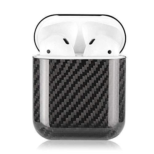 Ceepko Airpods Hülle Ultraleicht Kohlefaser 2019 Neuestes Airpods Hülle Mit Airpods Zubehör, Airpods Schutzhülle Für AirPods 1 Aufladen Hülle(Schwarz) (1)