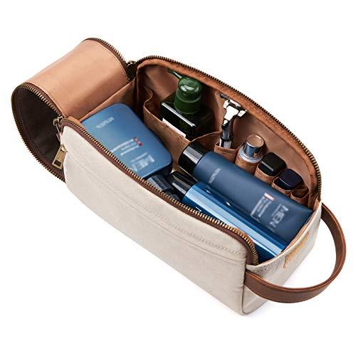 KALIDI Neceser de viaje para hombre, bolsa de aseo para hombres, de lona y piel auténtica, bolsa de cosméticos grande con bolsa impermeable