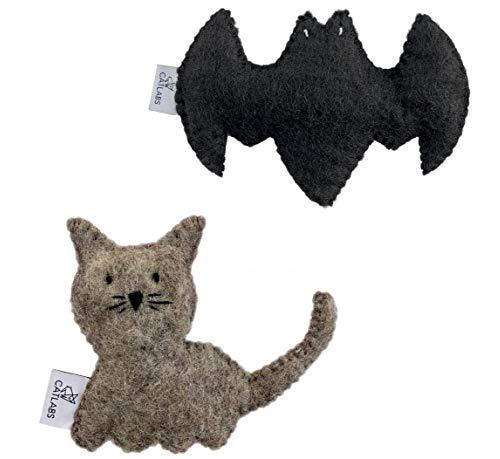 CATLABS Premium-Katzen-Spielzeug mit Bio Füllung Schmuse-, Spiel-Kissen aus Filz (2er Set Fledermaus & Katze)