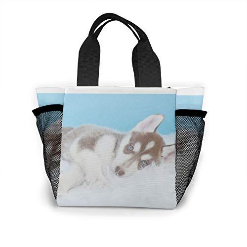 Lunch-Tasche für Damen, Handtasche, Lunch-Tasche für Arbeit, Picknick oder Reisen – kleiner Husky-Welpe