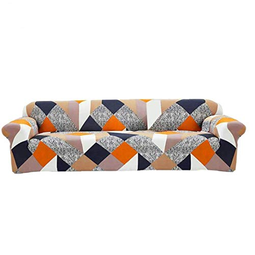 Sofa Slipcovers, Super Soft Multi-Color Stitching Pattern Sofa Covers, Elastic Couch Case Cover Polyester Furniture Protector (4 Seater)