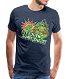 TMNT Turtles Raphael Spruch Kick Some Shell Männer Premium T-Shirt, L, Navy