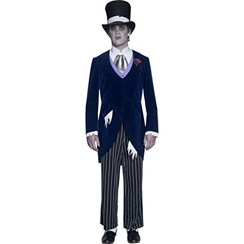 Smiffy's - Disfraz de Novio Fantasma Gothic Manor, con FRAC, pantaln, corbanda y Sombrero, Color Marino, M-Tamao 38'-40' (33586M)