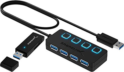 Sabrent 4-Port USB 3.0 Hub + USB 3.0 Micro SD & SD Card Reader