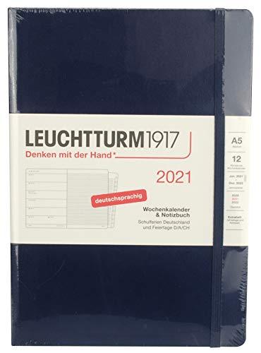 LEUCHTTURM1917 361826 Wochenkalender & Notizbuch 2021 Hardcover Medium (A5), 12 Monate, Marine, Deutsch