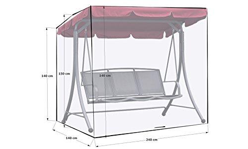 GRASEKAMP Qualität seit 1972 Schutzhülle Gartenschaukel 240x140x145cm Italia Weiß Schutzhaube Abdeckung Hollywoodschaukel