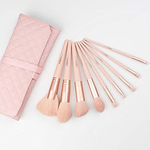 Set De Pinceaux De Maquillage Beautiful Girl Set Brush Net Novice Professional High-End, Nude Pink 9 Sets De Pinceaux