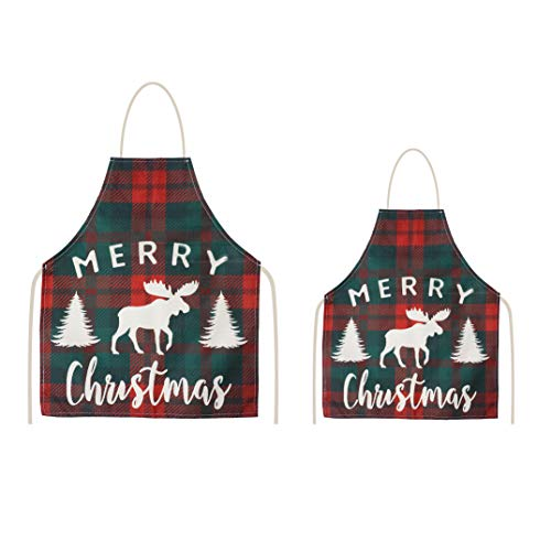 Set of 2 Christmas Aprons for Women with Cute Design - Stain Protection Cooking Apron for Mommy and Me - Comfortable for Adult and Kid