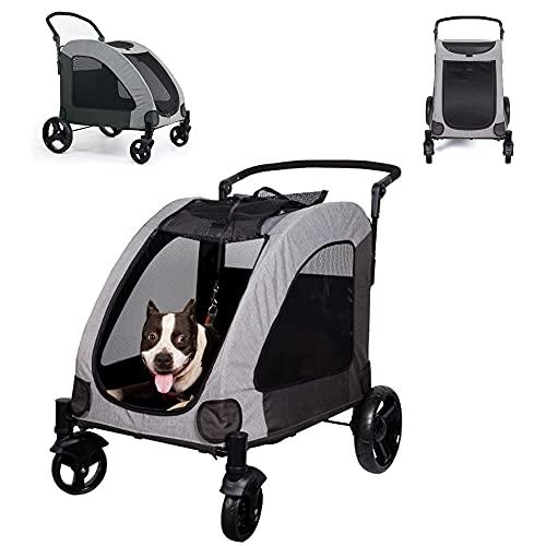 Passeggino per cani e gatti a 4 ruote, passeggino portatile per cani di taglia media con in rete e freni indipendenti con sicurezza integrata per animali domestici fino a 50 kg