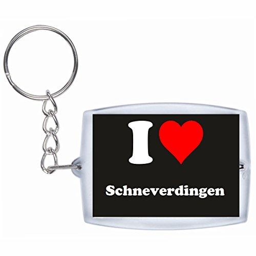 Druckerlebnis24 Schlüsselanhänger I Love Schneverdingen in Schwarz - Exclusiver Geschenktipp zu Weihnachten Jahrestag Geburtstag Lieblingsmensch