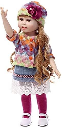 MWKL Reborn Baby Dolls, Silicona Renacimiento muñeca Princesa Pelo Largo Vestir muñeca niños Jugar casa baño Accesorios de fotografía niña Juguete 45 cm