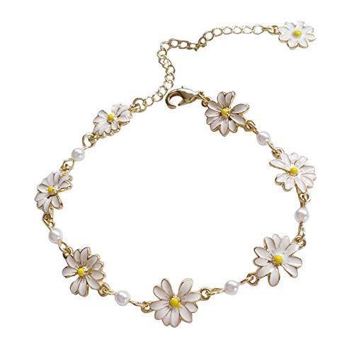yqs Pulsera de Moda Dulce Flores Blancas Pulseras Personalidad Crisantemo Pulsera para las Mujeres Joyería Accesorios Pulsera