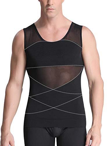 Jolie Herren Gynäkomastie-Kompressionshemden Brust flach Body Slimming Shaper Bauchkontrolle Weste Taillentrainer,XL
