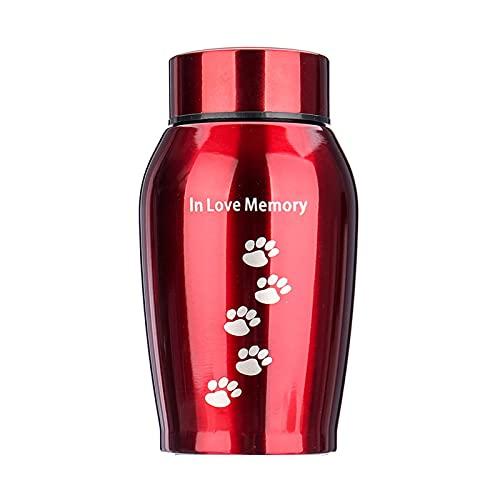 Sendley Urna de acero inoxidable rojo para mascotas, perros, gatos, pájaros, ratón, cremación de cenizas, urna de almacenamiento Columbario mascotas Memorials (500 ml rojo)