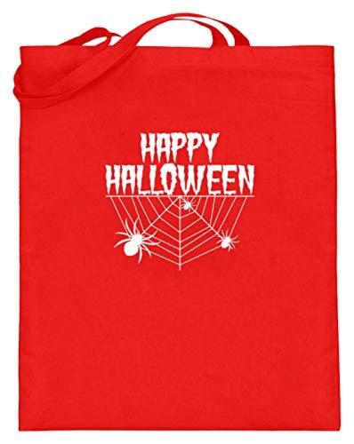 Spiritshop Happy Halloween – Red de araña y araña – Bolsa de yute (con asas largas), color, talla 38cm-42cm