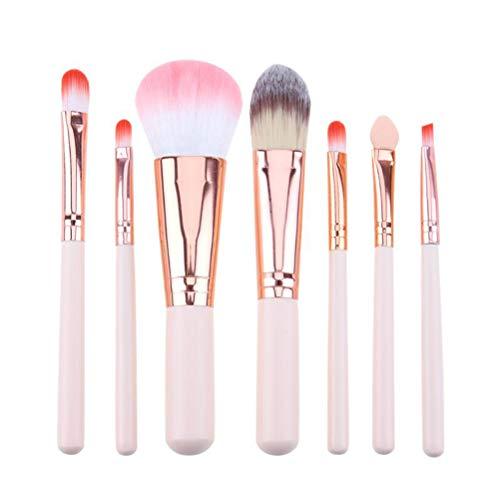 BSTCAR Kit Pinceaux Maquillages 7 Pcs- Poignées Roses - Pour Fard, Correcteur, Sourcils, Lèvres,Fond de Teint, Poudres Et Crèmes