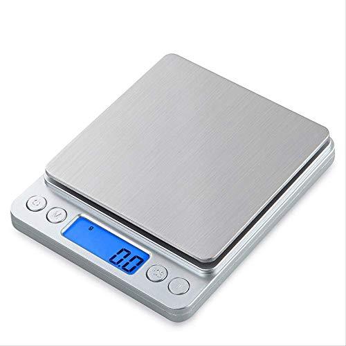Unknow Balance de cuisine avec écran LCD en acier inoxydable, facile à nettoyer, pour la maison et la cuisine 2 kg/0,1 g Argent, Argenté., 1kg/0.1g