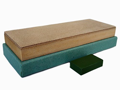 Leather Honing Strop Block with Green Compound | 3 inch by 8 inch | For sharpening honing and polishing knives, straight razors, blades, chisels and tools by Upon Leather