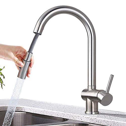 ONECE Spültischarmatur ausziehbar mit 2 Strahlarten Spülbrause, Wasserhahn Küche Armatur aus Edelstahl gebürstet, 360° drehbar Küchenarmatur Mischbatterie für Küche, Einhand-Spültischbatterie